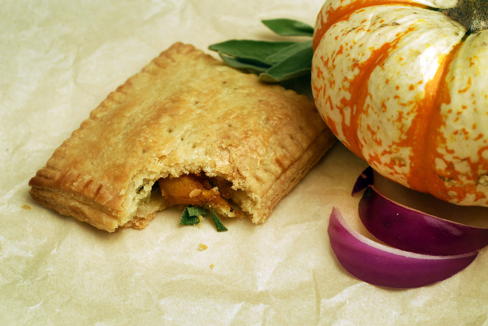 Put a homemade spin on pop-tarts while satisfying our grown-up palates. Here, sauteed pumpkin, onion and sage pop-tart. (Mark DuFrene/Contra Costa Times/MCT)