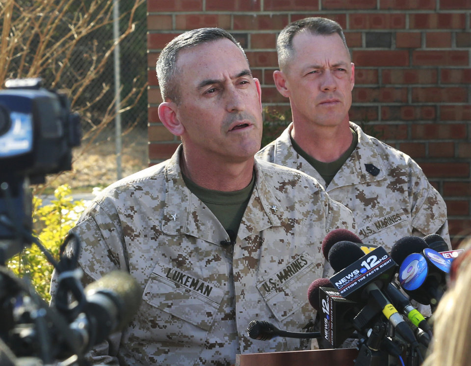 In this Tuesday, March 19, 2013 photo, Brig. Gen. James W. Lukeman, Commanding General, 2nd Marine Division, speaks to the media at Camp Lejeune in Jacksonville, N.C., about Monday night's mortar shell explosion killed that seven Marines and injured a half-dozen more during mountain warfare training in Nevada. The exercise involved members of the 2nd Marine Expeditionary Force from Camp Lejeune. (AP Photo/The Jacksonville Daily News, John Althouse)