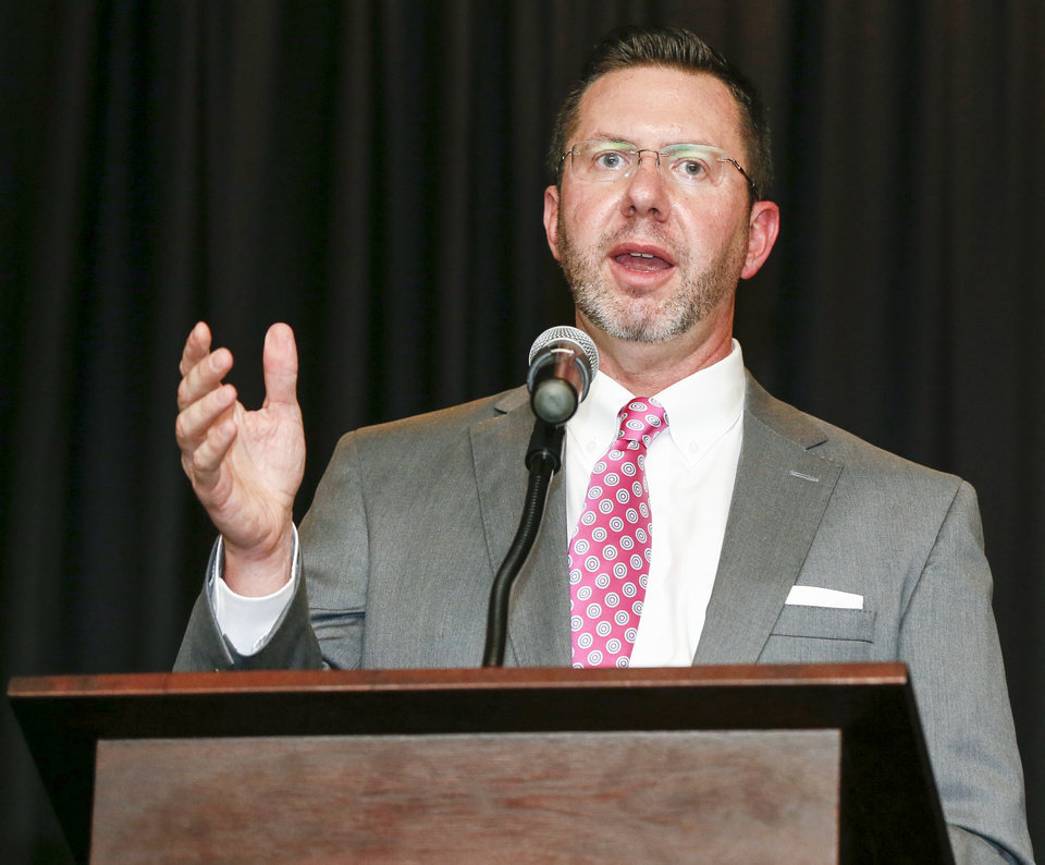 Photo -  Kris Steele, executive director of the The Education & Employment Ministry (TEEM), speaks during the nonprofit's