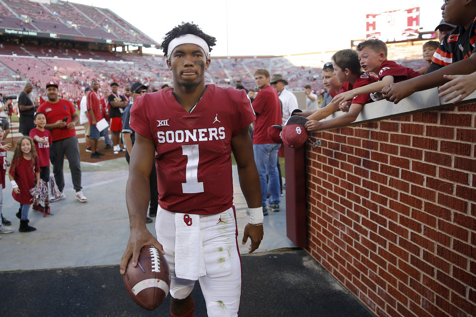 Photo - Oklahoma's Kyler Murray (1) leaves the field after a college football game between the University of Oklahoma Sooners (OU) and the Kansas State Wildcats at Gaylord Family-Oklahoma Memorial Stadium in Norman, Okla., Saturday, Oct. 27, 2018. Oklahoma won 51-14. Photo by Bryan Terry, The Oklahoman