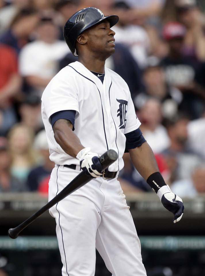 Detroit Tigers' Austin Jackson reacts after striking out to end the baseball game against the Chicago White Sox, Saturday, May 5, 2012, in Detroit. The White Sox won 3-2. (AP Photo/Duane Burleson)