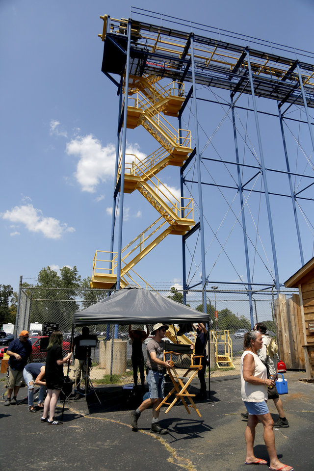 Photo -  A film crew works on the set of