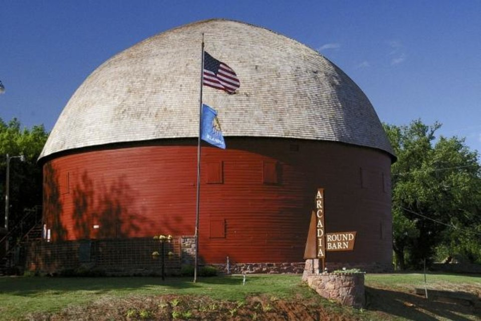 Photo -  The Arcadia Round Barn is six miles east of Interstate 35 on Historic Route 66. [Photo provided]