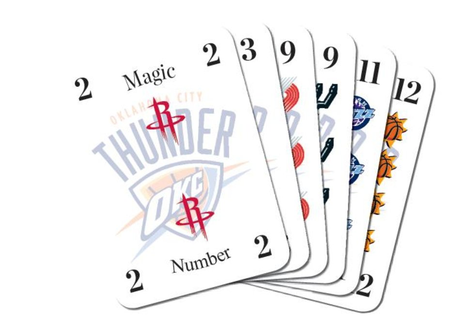 Photo - PLAYOFFS / GRAPHIC / OKLAHOMA CITY THUNDER / NBA BASKETBALL / DECK OF PLAYING CARDS / MAGIC NUMBERS / HOUSTON ROCKETS