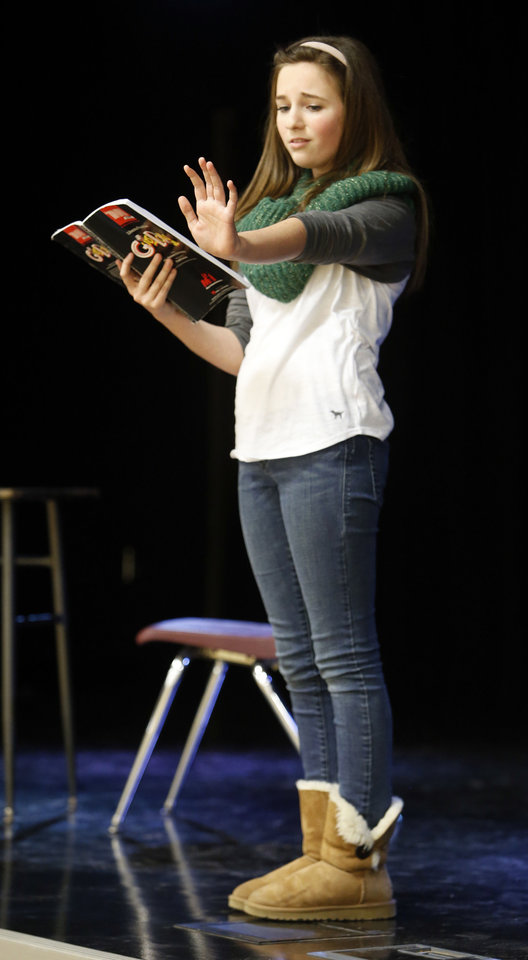 "Claire Merrell rehearses her part in Irving Middle School's upcoming production of ""Guys and Dolls Junior."" PHOTO BY STEVE SISNEY, THE OKLAHOMAN <strong>STEVE SISNEY</strong>"