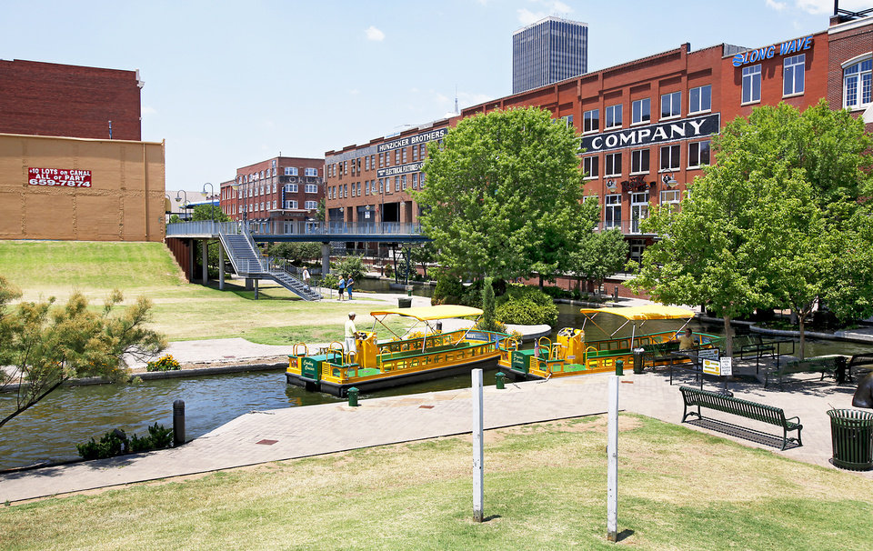 The Bricktown Canal, as seen from the Mickey Mantle Drive plaza, 2009. PHOTO BY CHRIS LANDSBERGER, THE OKLAHOMAN