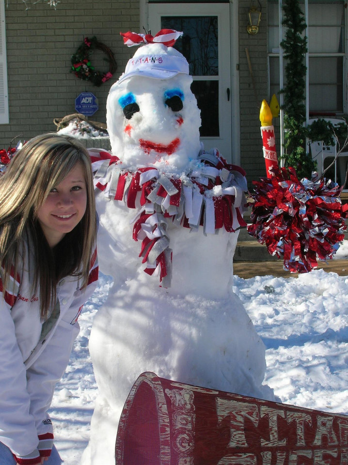 cajh cheerleader  megan and snow woman<br/><b>Community Photo By:</b> brandy<br/><b>Submitted By:</b> jeff,