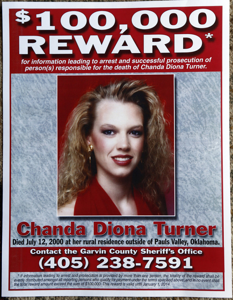A reward poster for information on the death of Chanda Turner is on display at her parents' home on Wednesday, Dec. 5, 2012 in Elmore City, Okla.  Photo by Steve Sisney, The Oklahoman