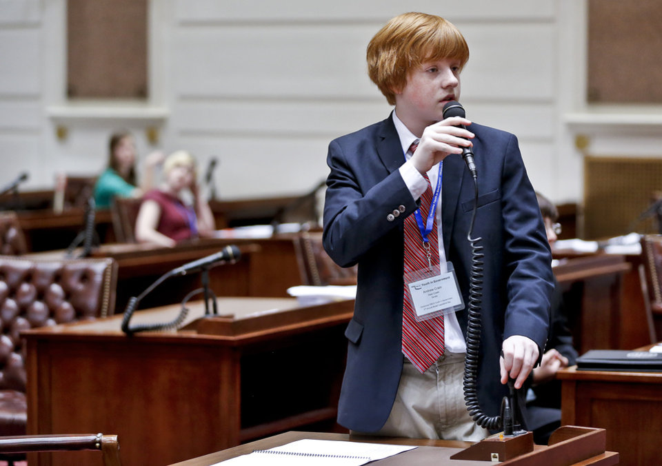 Andrew Crain speaks about a bill in the senate as about 100 seventh and eight grade students from across the state assume roles of state legislators at the State Capitol on Friday, March 29, 2013, in Oklahoma City, Okla.  Photo by Chris Landsberger, The Oklahoman