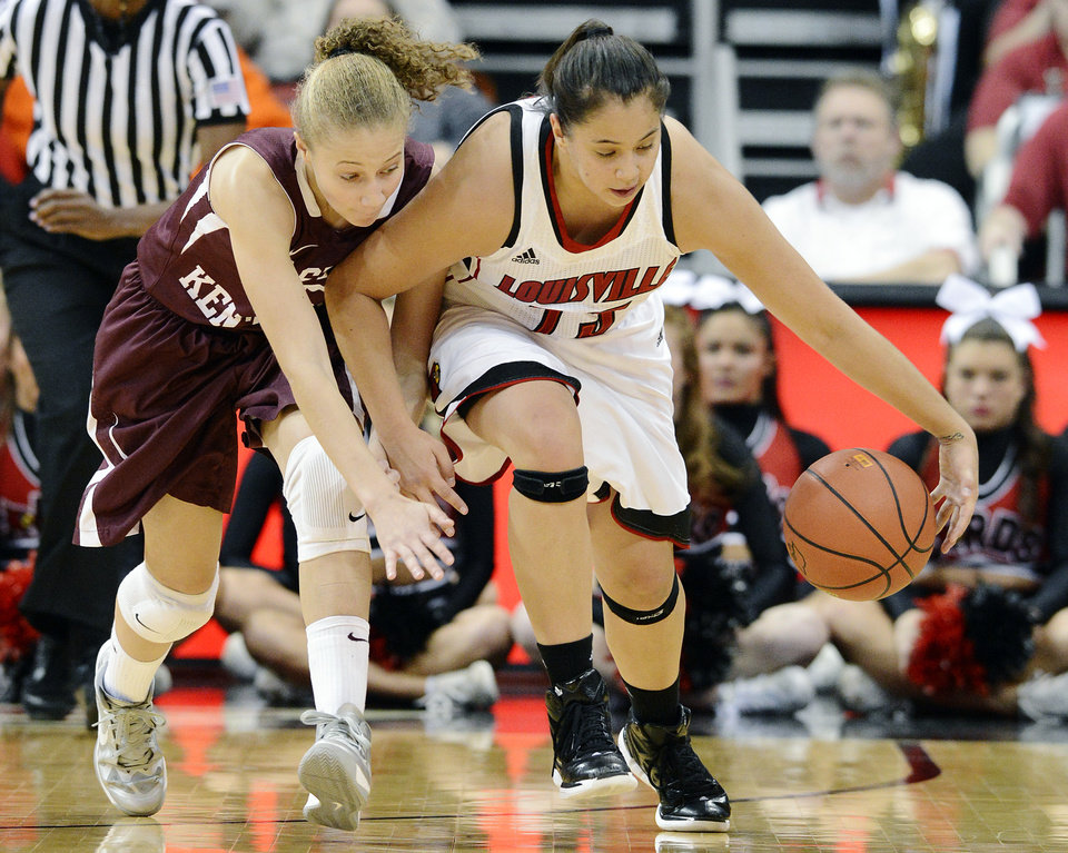 Louisville's Shoni Schimmel, right, runs down a loose ball ahead of Eastern Kentucky's Alexus Cooper during the second half of their NCAA college basketball game, Wednesday, Nov. 28, 2012, in Louisville, Ky. Louisville won 76-42. (AP Photo/Timothy D. Easley)