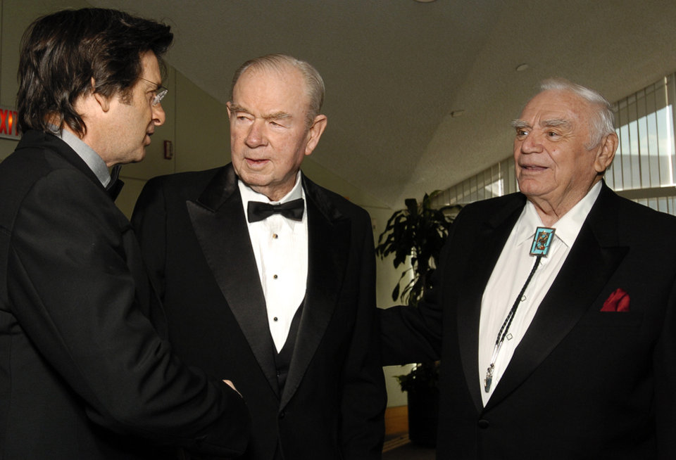 Photo - Actors Robert Carradine (left) and Ernest Borgnine (right) speak with former Oklahoma governor Henry Bellmon at a reception before the Western Heritage Awards at the National Cowboy & Western Heritage Museum in Oklahoma City, Oklahoma on Saturday,  April 16, 2005.   Photo by Steve Sisney/The Oklahoman