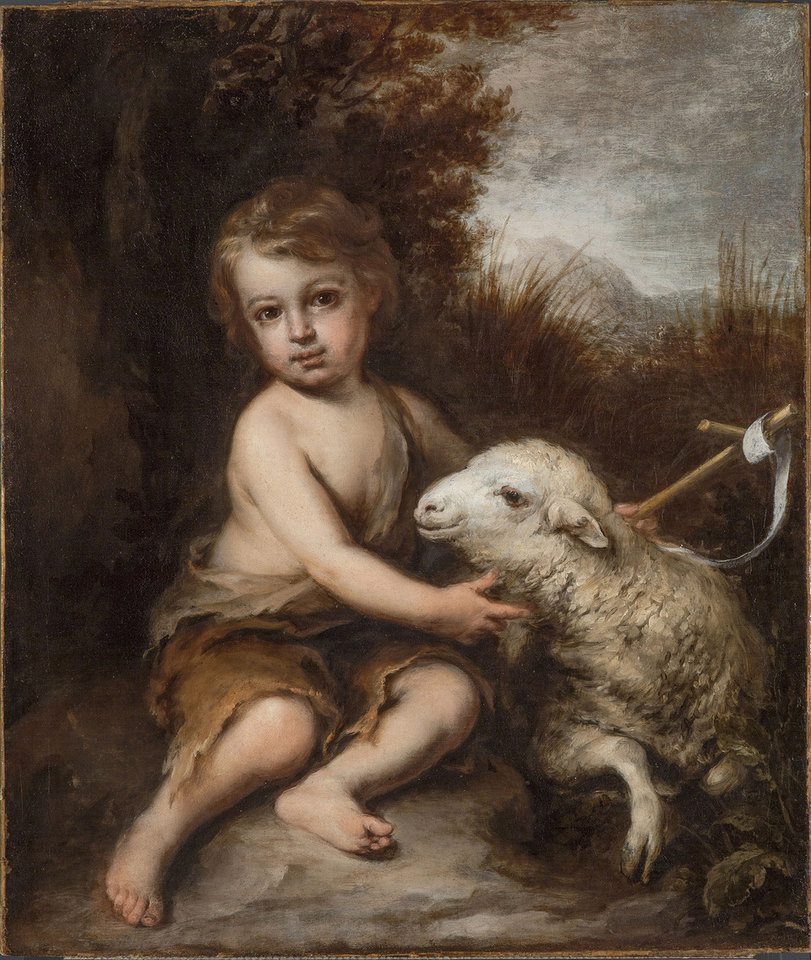 "This photo provided by the Detroit Institute of Arts shows a post-conservation image of 17th-century Spanish artist Bartolomé Esteban Murillo�s ""The Infant Saint John the Baptist in the Wilderness."" The rediscovered painting is going on display at the Detroit Institute of Arts and was spotted by a DIA curator during a visit to an historic home in suburban Detroit last year. It's on loan to the museum for five years. The painting previously belonged to an Italian merchant, a Capuchin convent and the Duke of Westminster. In 1926, it entered the collection of Alfred and Matilda Wilson, who kept it in their home, Meadow Brook Hall, in Rochester, Mich. (AP Photo/Detroit Institute of Arts)"