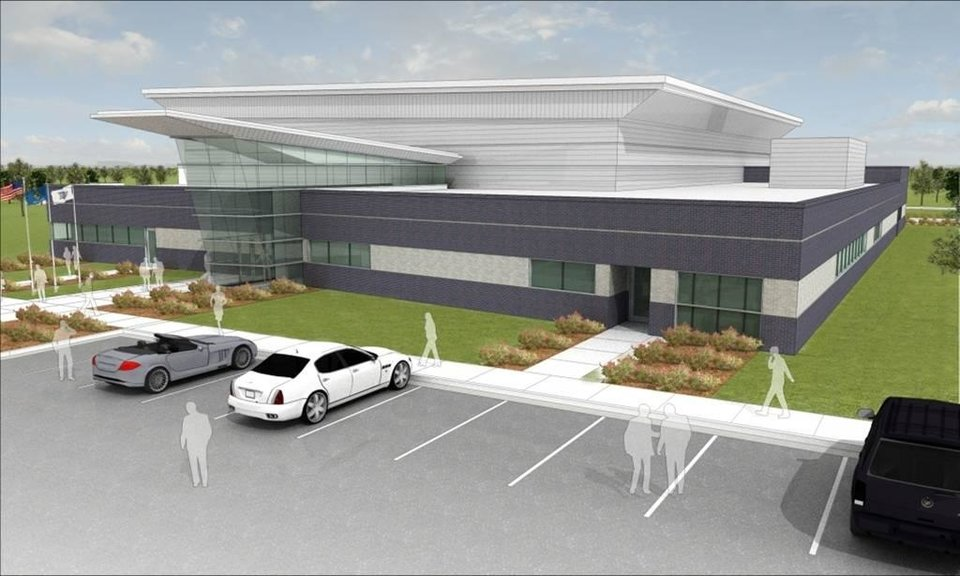 Photo - An artist's rendering of the Oklahoma City Thunder's practice facility to be built northeast of the intersection of Broadway and Britton. PHOTO PROVIDED