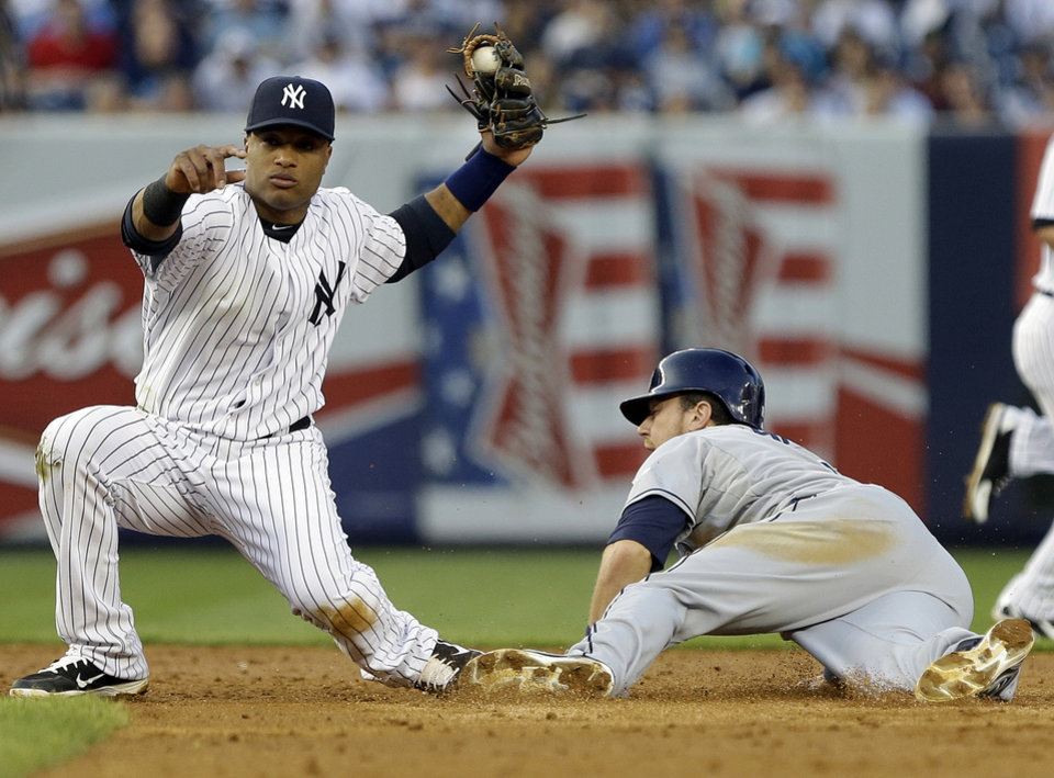Tampa Bay Rays' Ben Zobrist, right, beats the tag by New York Yankees' Robinson Cano to steal second base during the third inning of a baseball game on Friday, June 21, 2013, in New York. (AP Photo/Frank Franklin II)