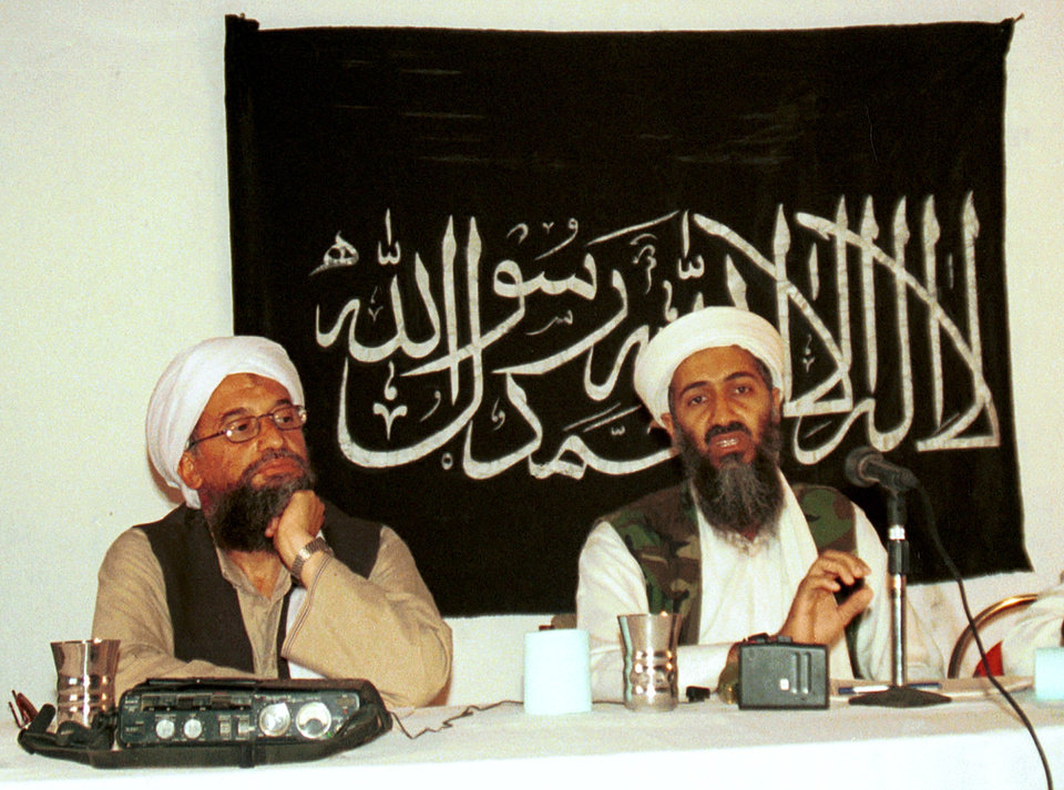 Photo - FILE - In this 1998 file photo, Ayman al-Zawahri, left, holds a press conference with Osama bin Laden in Khost, Afghanistan and made available Friday March 19, 2004. A person familiar with developments said Sunday, May 1, 2011 that bin Laden is dead and the U.S. has the body. (AP Photo/Mazhar Ali Khan) ORG XMIT: NY205
