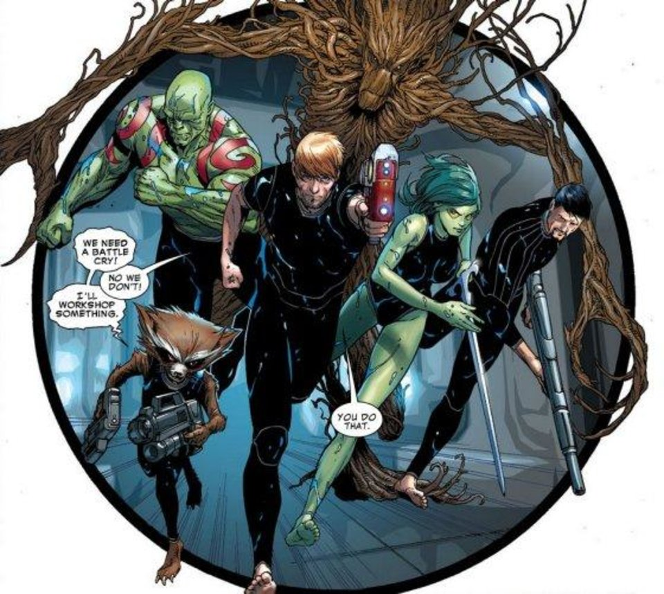 """Photo -  A panel from Brian Michael Bendis' """"Guardians of the Galaxy"""" series. Marvel Comics"""