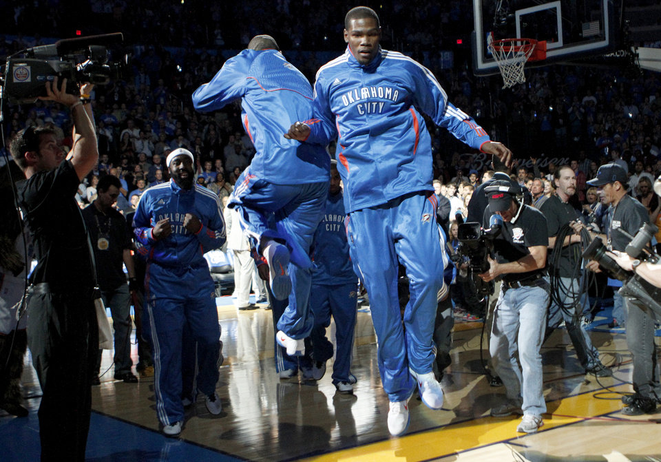 Photo - Oklahoma City's Kevin Durant is introduced before the NBA basketball game between the Oklahoma City Thunder and the Chicago Bulls in the Oklahoma City Arena on Wednesday, Oct. 27, 2010. Photo by Bryan Terry, The Oklahoman