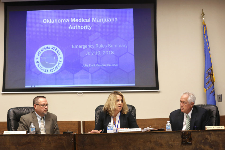 Photo - From left, Timothy Starkey, board president; Dr. Jenny Alexopulos, and Dr. Edward Legako, board vice-president. The Oklahoma State Department of Health voted at their monthly meeting Tuesday morning, July 10, 2018, to ban sales of smokeable forms of medical marijuana and to require dispensaries to hire a pharmacist. The Board of Health voted on 75 pages of rules creating a rough framework for patients, physicians, caretakers and business owners interested in medical marijuana. The ban on sales of leaves and flowers for smoking and the requirement to hire a pharmacist weren't in the draft rules presented to the board, but were a priority of a coalition of medical groups. Julie Ezell, the Health Department's general counsel, presented the rules to a packed board room and to members of the public watching in an overflow room and online. She cautioned board members that the two new rules they added might not be allowed under the state question, inviting a court challenge. Photo by Jim Beckel, The Oklahoman