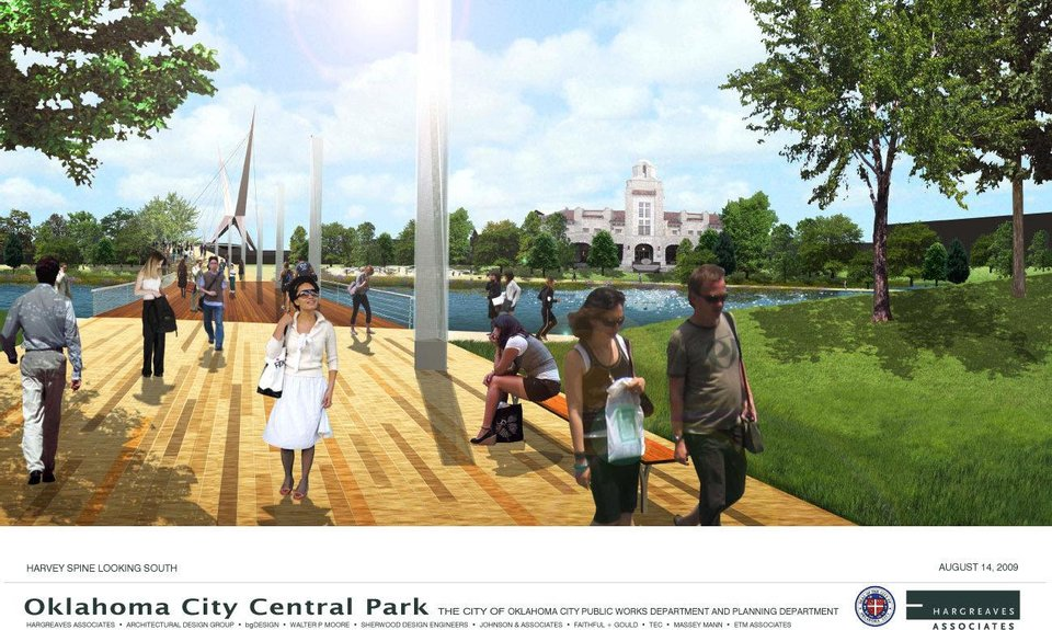 Photo - An example of what the MAPS 3 urban park could look like is shown in this drawing. No specific plans for the park have been made, but Oklahoma City officials and consultants hope city residents let them know what they want to see by filling out an online survey.  pfrankel - Provided