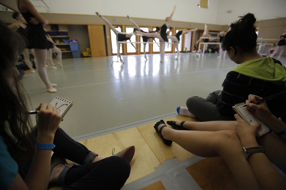 Students sketch dancers during a rehearsal at Quartz Mountain Oklahoma Summer Arts Institute in Lone Wolf, Wednesday, June 13, 2012.  Photo by Garett Fisbeck, The Oklahoman