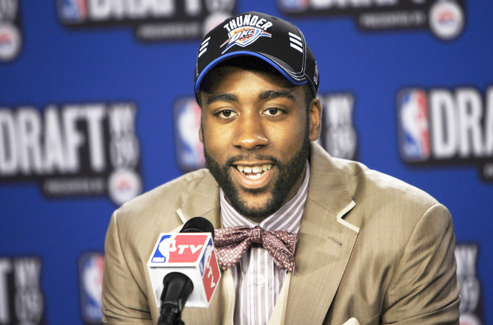 There are lots of reasons to love new Thunder guard James Harden, like his bowtie, his mother and his beard. (AP Photo)