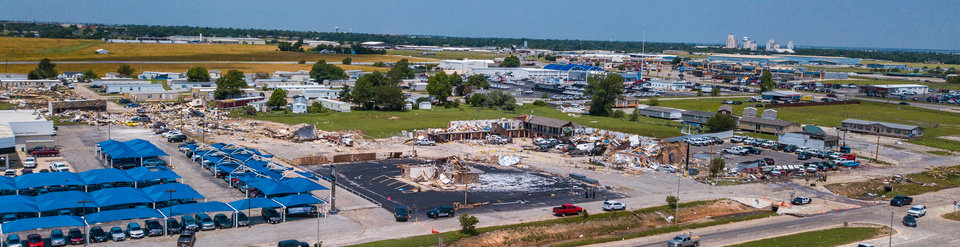 Photo - Drone image of Skyview Mobile Home Park and American Budget Value Inn in El Reno. Image by Dave Morris.