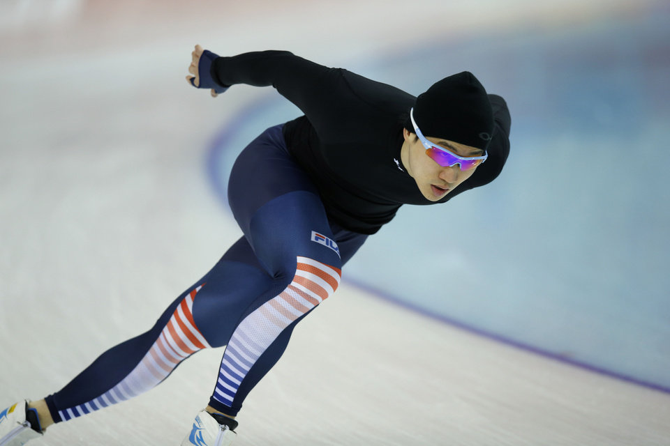 Photo - South Korean speedskater Mo Tae-Bum trains at the Adler Arena Skating Center during the 2014 Winter Olympics in Sochi, Russia, Friday, Feb. 7, 2014. (AP Photo/Pavel Golovkin)