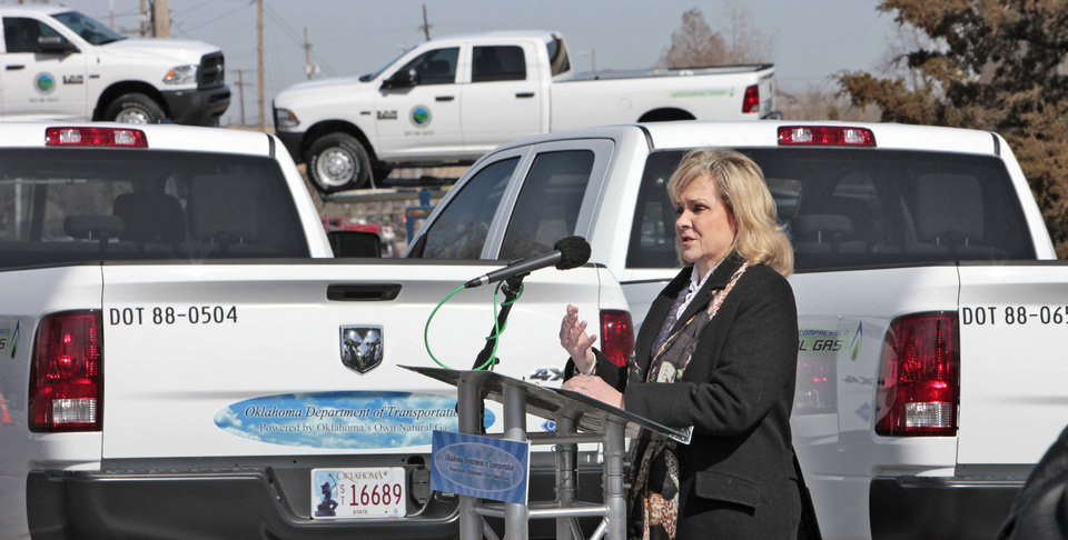 Governor Mary Fallin receiving CNG trucks for use by Oklahoma Department of Transportation , Wednesday, March 6, 2013. Photo By David McDaniel/The Oklahoman