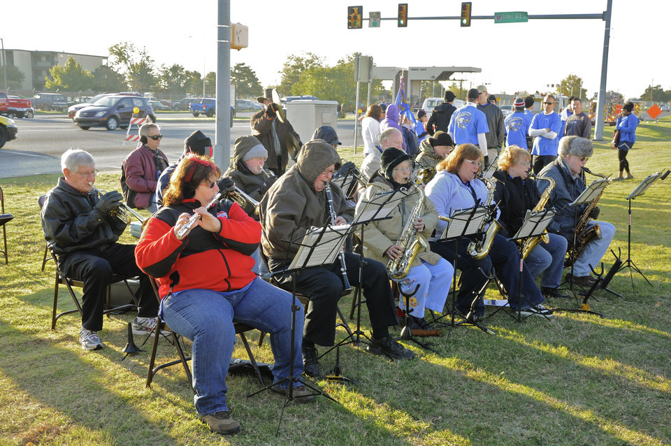 "The ""Tinker Flying High Band"" provides music for the AWACS replica dedication in Del City. Photo by M. Timothy Blake, for The Oklahoman <strong>M. Tim Blake</strong>"