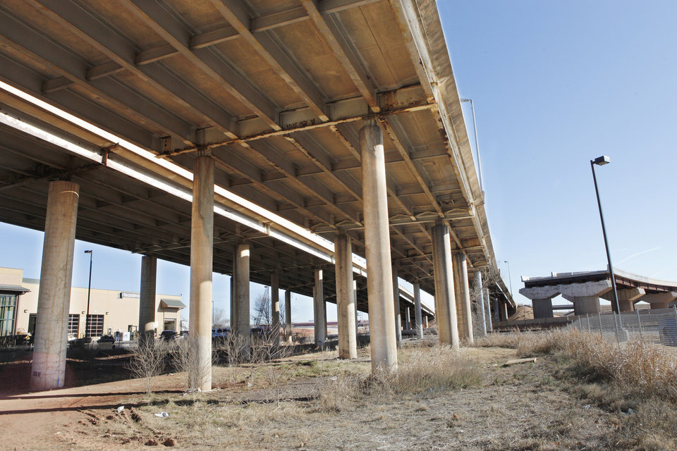 Steel beams from the old Interstate 40 will be used in the building of county bridges. Photo by Paul B. Southerland, The Oklahoman archives