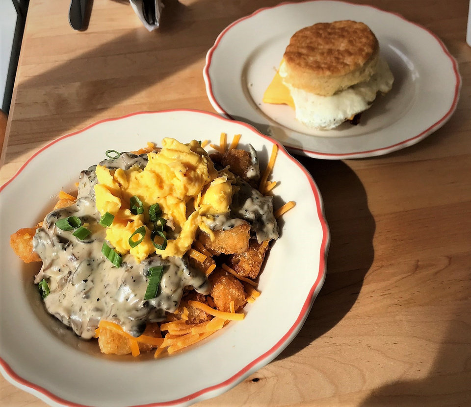 Photo -  HunnyBunny Biscuit Co. opens in Uptown this week. Here is The Hot Mess and a Classic biscuit sandwich. [Photo by Dave Cathey, The Oklahoman]
