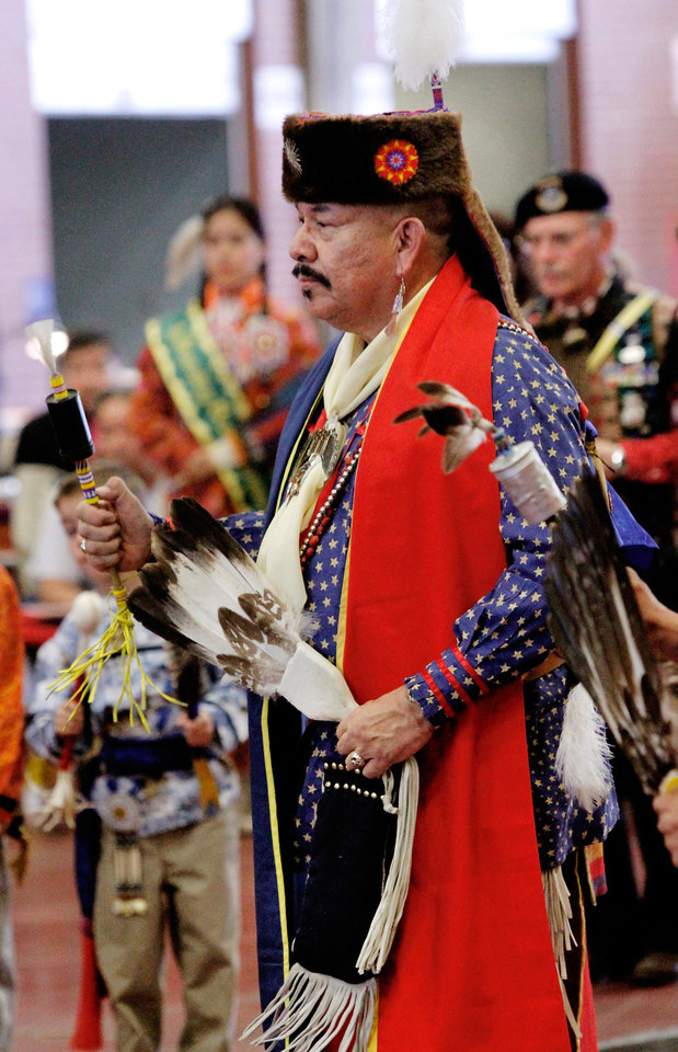 Billy Primeaux of Norman. He is with Ponca Tribe.  At least 500 people representing several dozen Native American Nations within the state attended  a New Year's pow-wow in the Centennial Building at State Fair Park Saturday , January 7, 2012,   The celebration started around shortly after noon and continued into the night.   Several hundred took part in the various dancers and the dancers wore tribal regalia.  Photo by Jim Beckel, The Oklahoman