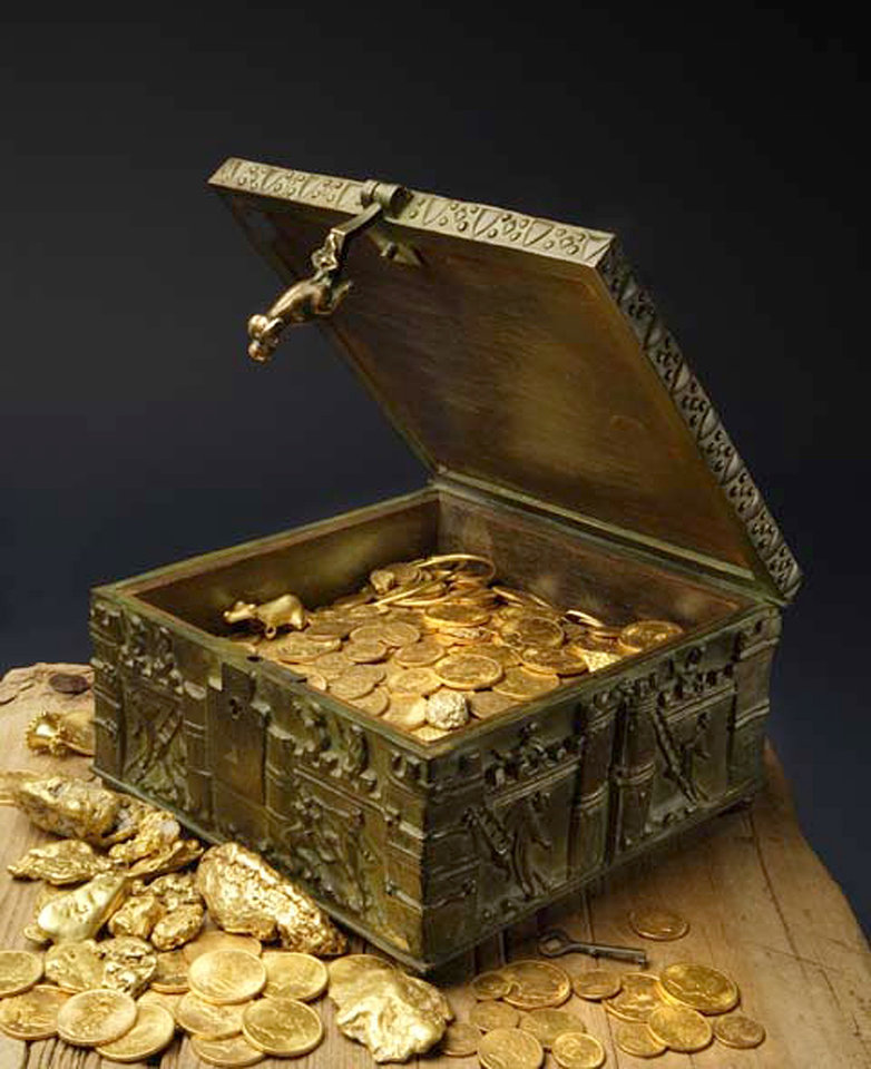 Photo - This undated photo provided by Forrest Fenn shows a chest purported to contain gold dust, hundreds of rare gold coins, gold nuggets and other artifacts.  For more than a decade, the 82-year-old claims he has packed and repacked the treasure chest, before burying it in the mountains somewhere north of Santa Fe. (AP Photo/Jeri Clausing)