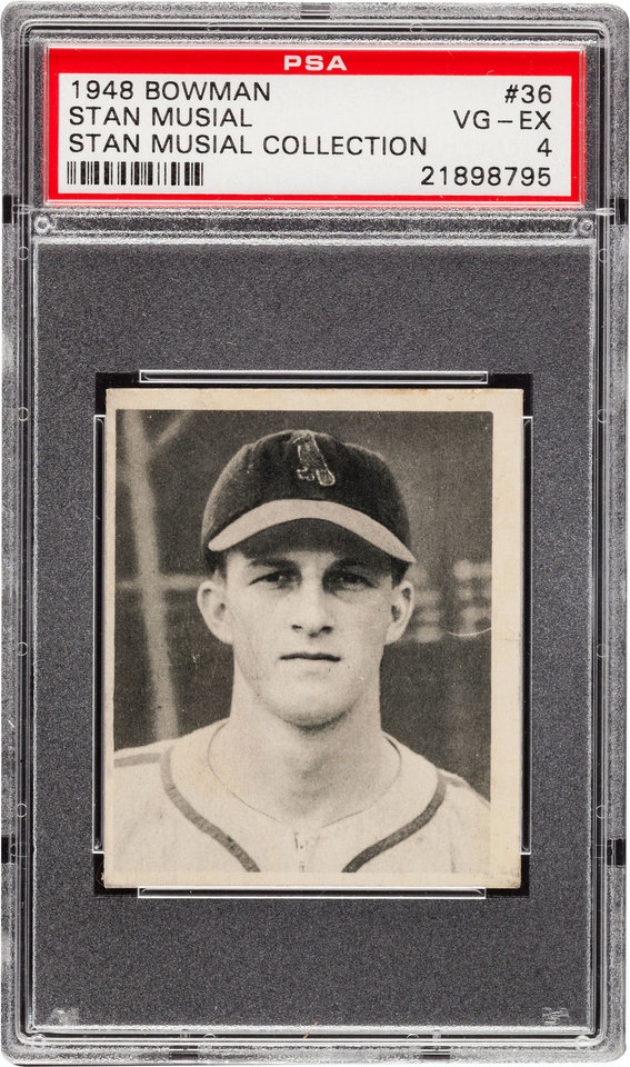 Photo - In this undated photo provided by Heritage Auctions is Stan Musial's personally-owned 1948 Bowman black and white rookie baseball card that Heritage Auctions of Dallas said Monday, Nov. 11, 2013 sold for $11,950 at auction. Musial died in January at age 92. His family kept most of his belongings but grandson Brian Schwarze said Musial's four-bedroom Ladue home was stuffed with so many things he'd collected over the years that relatives decided on an auction. (AP Photo/Heritage Auctions)