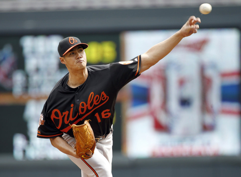 Photo - Baltimore Orioles starting pitcher Wei-Yin Chen (16) delivers to the Minnesota Twins during the first inning of a baseball game in Minneapolis, Saturday, May 3, 2014. (AP Photo/Ann Heisenfelt)