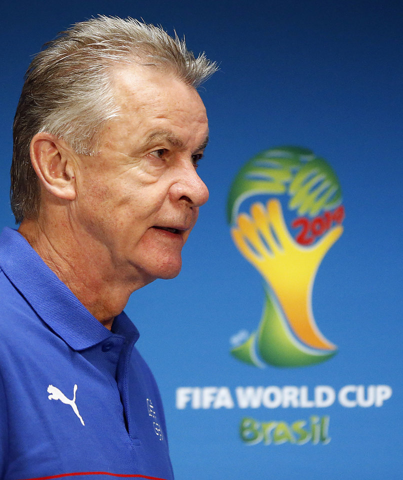 Photo - Switzerland's coach Ottmar Hitzfeld arrives for a press conference at the Arena da Amazonia in Manaus, Brazil, Tuesday, June 24, 2014, one day before the group E match between Honduras and Switzerland of the 2014 soccer World Cup. (AP Photo/Frank Augstein)