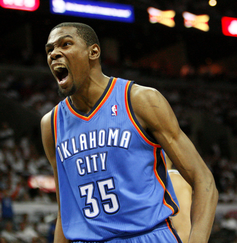 Oklahoma City\'s Kevin Durant (35) celebrates after a James Harden basket and foul during Game 5 of the Western Conference Finals between the Oklahoma City Thunder and the San Antonio Spurs in the NBA basketball playoffs at the AT&T Center in San Antonio, Monday, June 4, 2012. Photo by Nate Billings, The Oklahoman