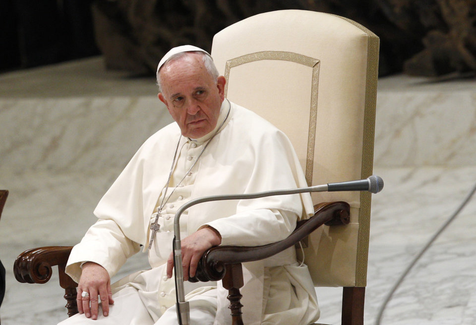 Photo - Pope Francis attends his weekly general audience in the Paul VI hall, at the Vatican, Wednesday, Aug. 20, 2014. (AP Photo/Riccardo De Luca)