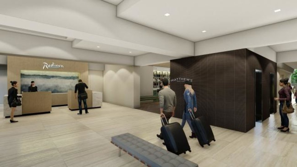 Photo -  The future lobby at the rebranded Radisson Hotel at 2345 Northwest Expressway is seen in this rendering. [Provided]