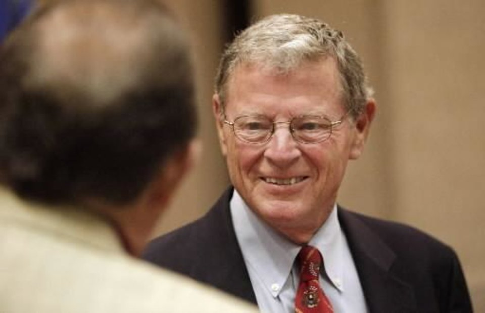 Sen. Jim Inhofe, R-Tulsa, talks with individuals after speaking at a Greater Oklahoma City Chamber of Commerce breakfast in Oklahoma City Thursday, August 26, 2010. Photo by Paul B. Southerland