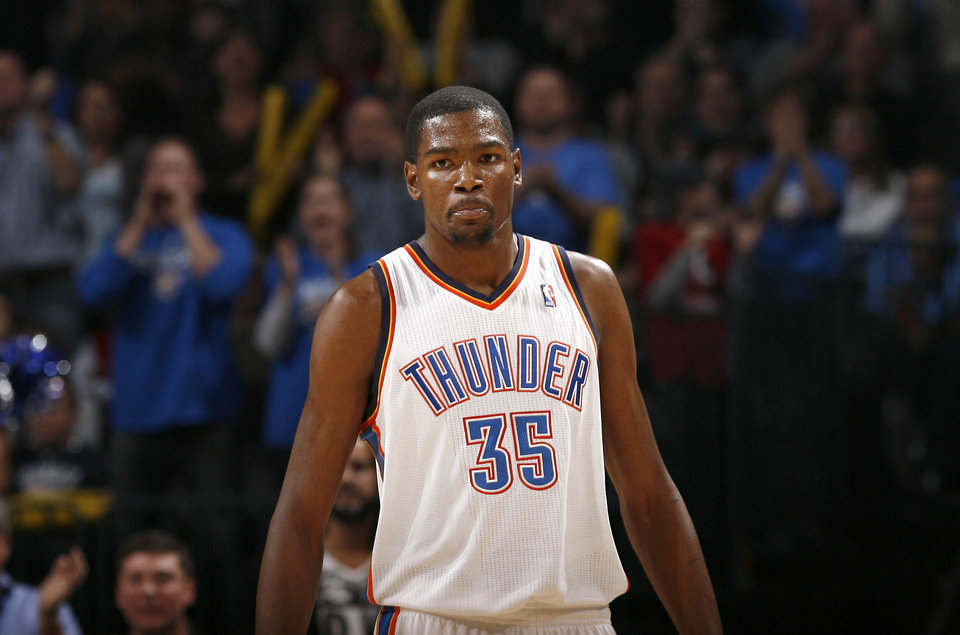 Oklahoma City's Kevin Durant reacts during the NBA game between the Oklahoma City Thunder and the Boston Celtics, Sunday, Nov. 7, 2010, at the Oklahoma City Arena. Photo by Sarah Phipps, The Oklahoman