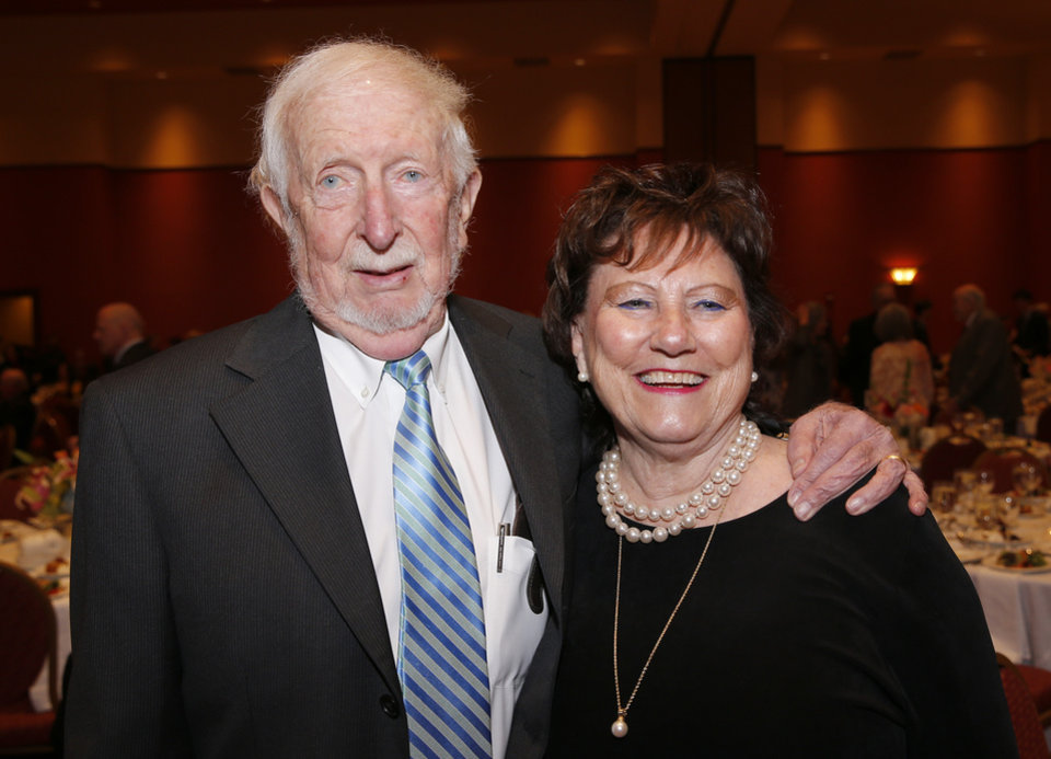 Photo - Robert and Juanitta Goings pose for a picture before a dinner and reception honoring David and Molly Shi Boren in Norman, Okla., Friday, April 20, 2018. Photo by Sarah Phipps, The Oklahoman