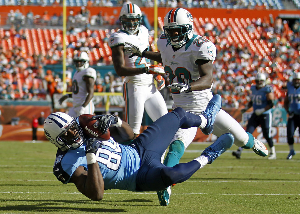 Photo -   Tennessee Titans tight end Jared Cook, bottom, scores a touchdown on a 26-yard pass in front of Miami Dolphins free safety Reshad Jones (20) during the second half of an NFL football game on Sunday, Nov. 11, 2012, in Miami. (AP Photo/John Bazemore)