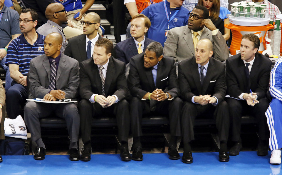 A partial view of the Thunder bench during an NBA basketball game between the Oklahoma City Thunder and the Washington Wizards at Chesapeake Energy Arena in Oklahoma City, Wednesday, March 27, 2013. Photo by Nate Billings, The Oklahoman