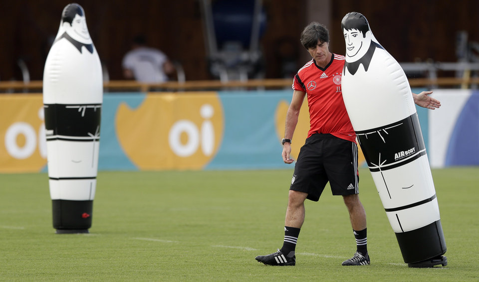 Photo - German national soccer team head coach Joachim Loew prepares for a training session in Santo Andre near Porto Seguro, Brazil, Saturday, June 14, 2014. Germany will play in group G of the 2014 soccer World Cup. (AP Photo/Matthias Schrader)