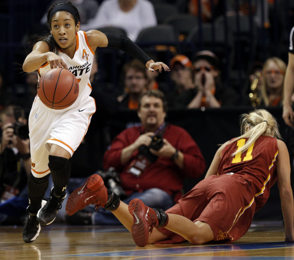 Photo - Oklahoma State's Tiffany Bias (3) runs up court after grabbing a loose ball from Iowa State's Jadda Buckley (11) during the Women's Big 12 basketball tournament at  Chesapeake Energy Arena  in Oklahoma City, Okla., Saturday, March 8, 2014. Photo by Sarah Phipps, The Oklahoman