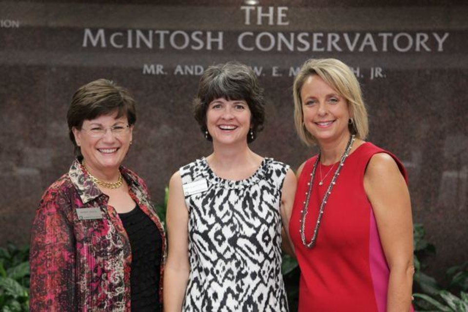 Nancy O'Neal,  Darla deSteiguer and  Judy Branch were at Oklahoma Christian University's First Ladies Tea. Wednesday, August 29, 2012. (Photo provided).
