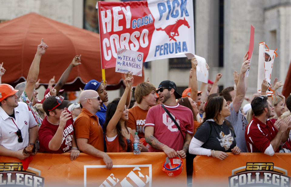 Fans pack the set of ESPN's College Gameday before the Red River Rivalry college football game between the University of Oklahoma Sooners (OU) and the University of Texas Longhorns (UT) at the Cotton Bowl in Dallas, Saturday, Oct. 8, 2011. Photo by Bryan Terry, The Oklahoman