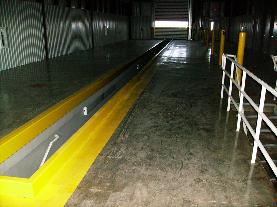 Photo - An inspection bay at the new port of entry weigh station in northern Oklahoma.