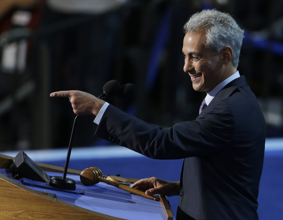 Photo - Chicago Mayor Rahm Emanuel points to delegates at the Democratic National Convention in Charlotte, N.C., on Tuesday, Sept. 4, 2012. (AP Photo/Lynne Sladky)  ORG XMIT: DNC489